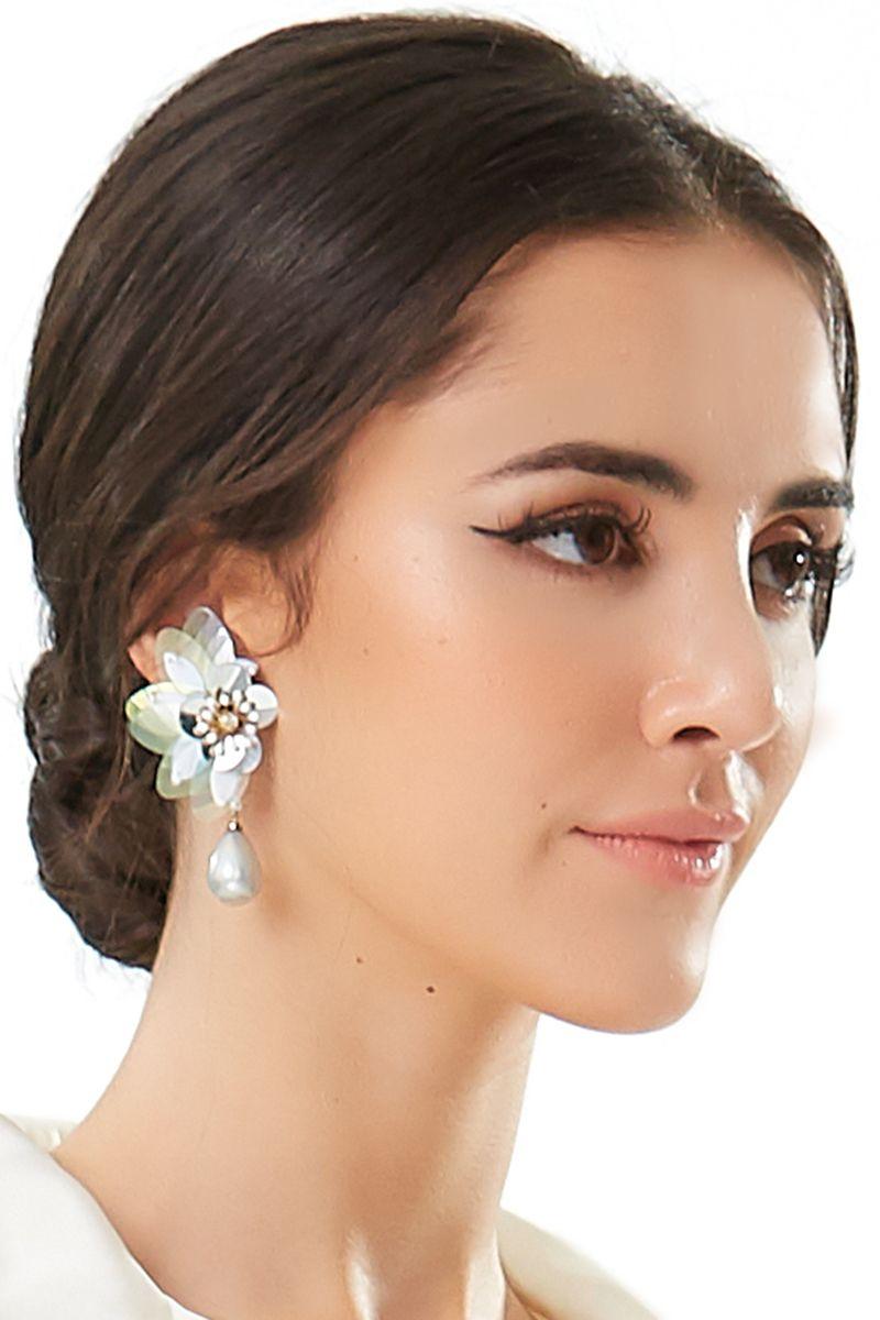 Silver Flower Pearl Drop