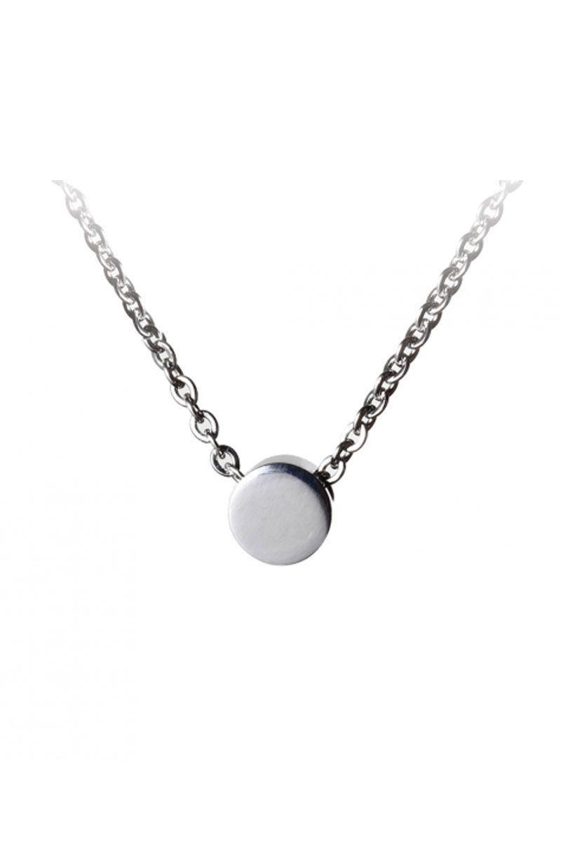 The Sleek Disc Pendant Necklace White Gold