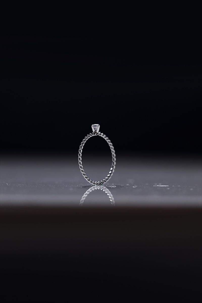 The Sleek Twisted Solitaire Ring White Gold
