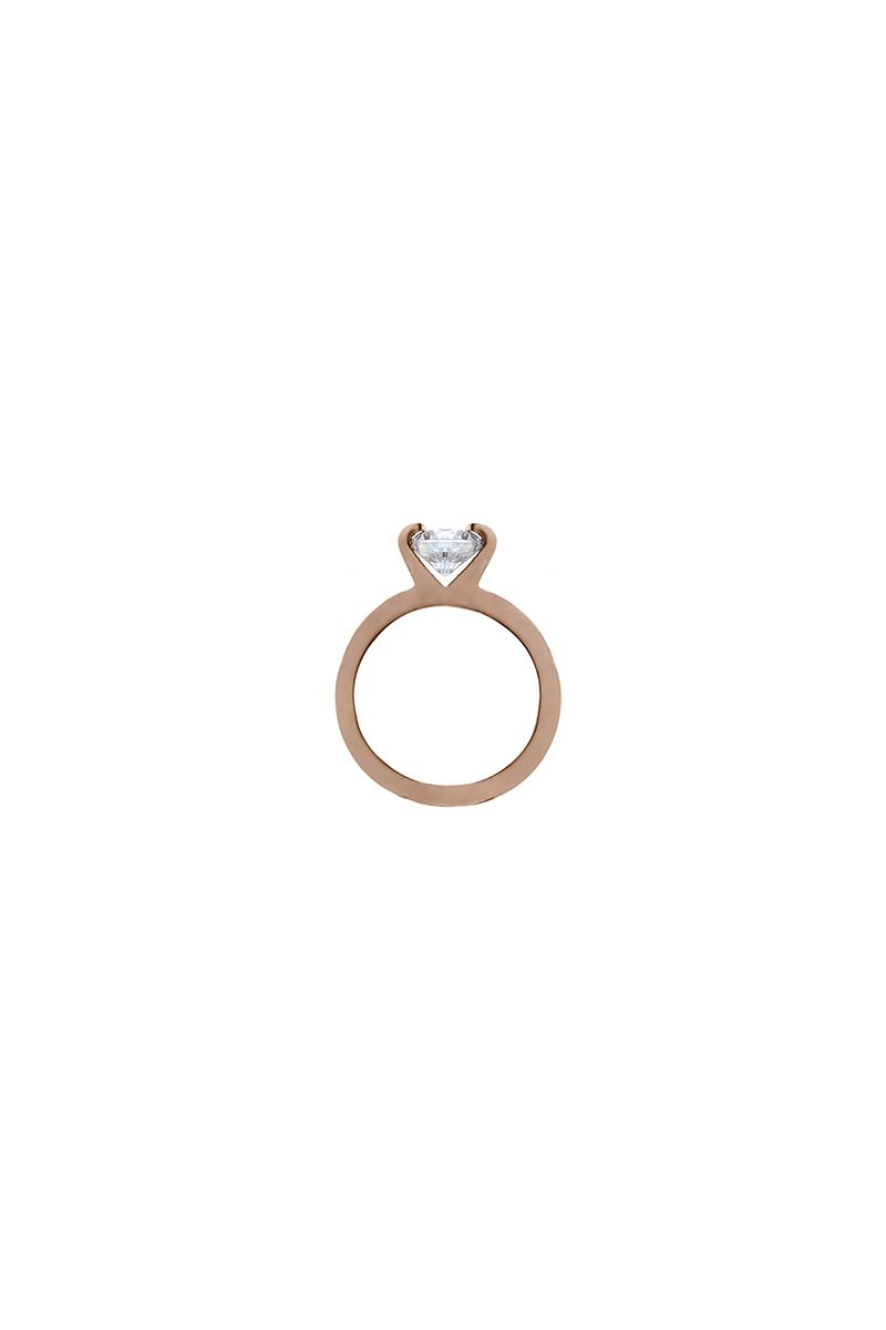 The Sleek Thick Solitaire Ring Rose Gold