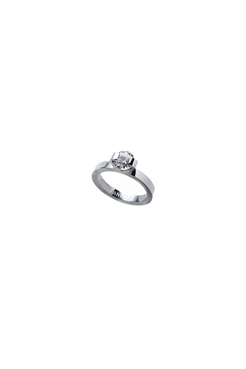 The Sleek Thick Solitaire Ring White Gold